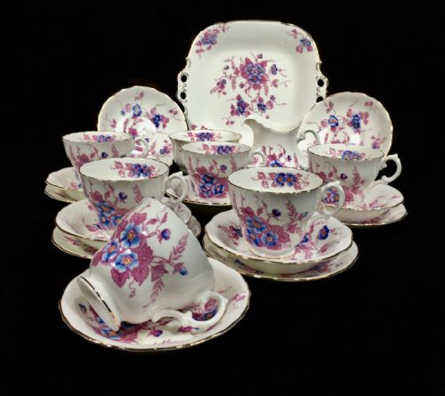 Crescent George Jones & Sons China Tea & Dinner Service For 6 People / 45 Piece